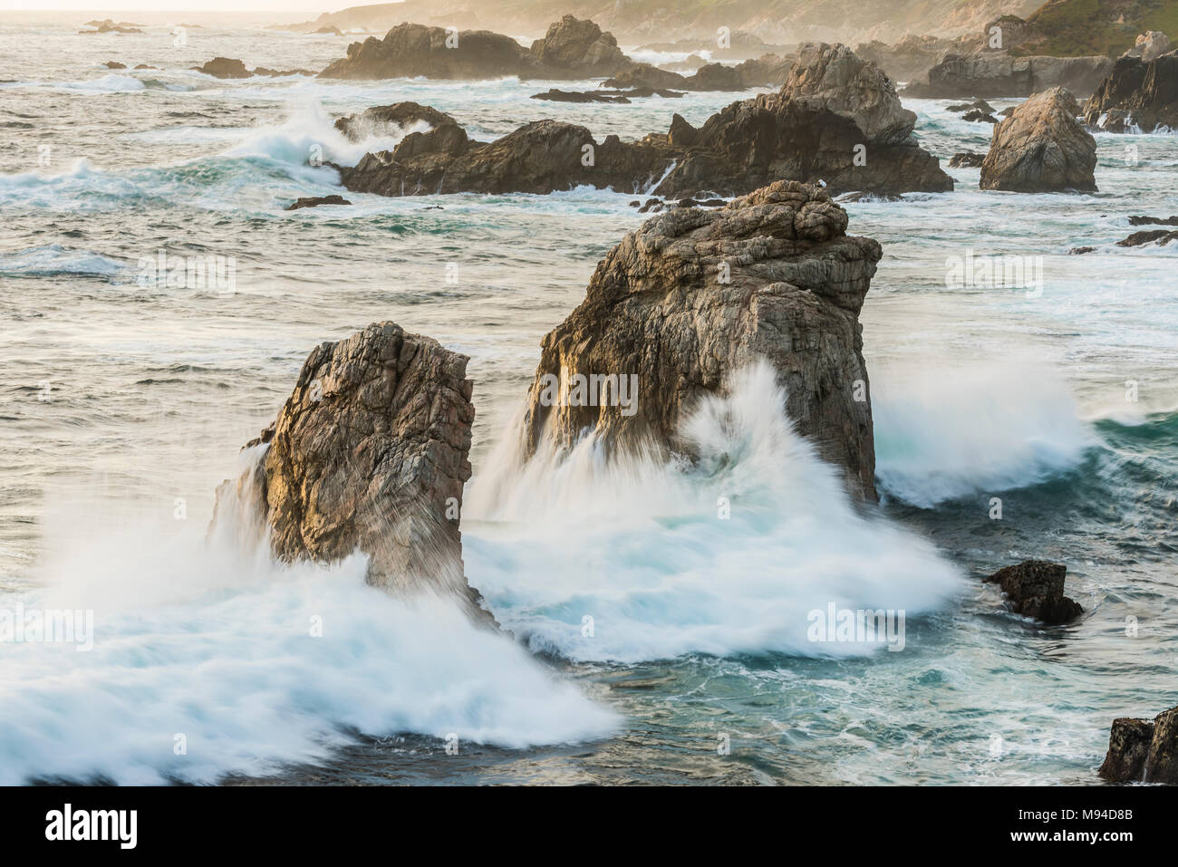 Surf and crashing waves, Garrapata State Park, CA, USA, by Dominique Braud/Dembinsky Photo Assoc - Stock Image