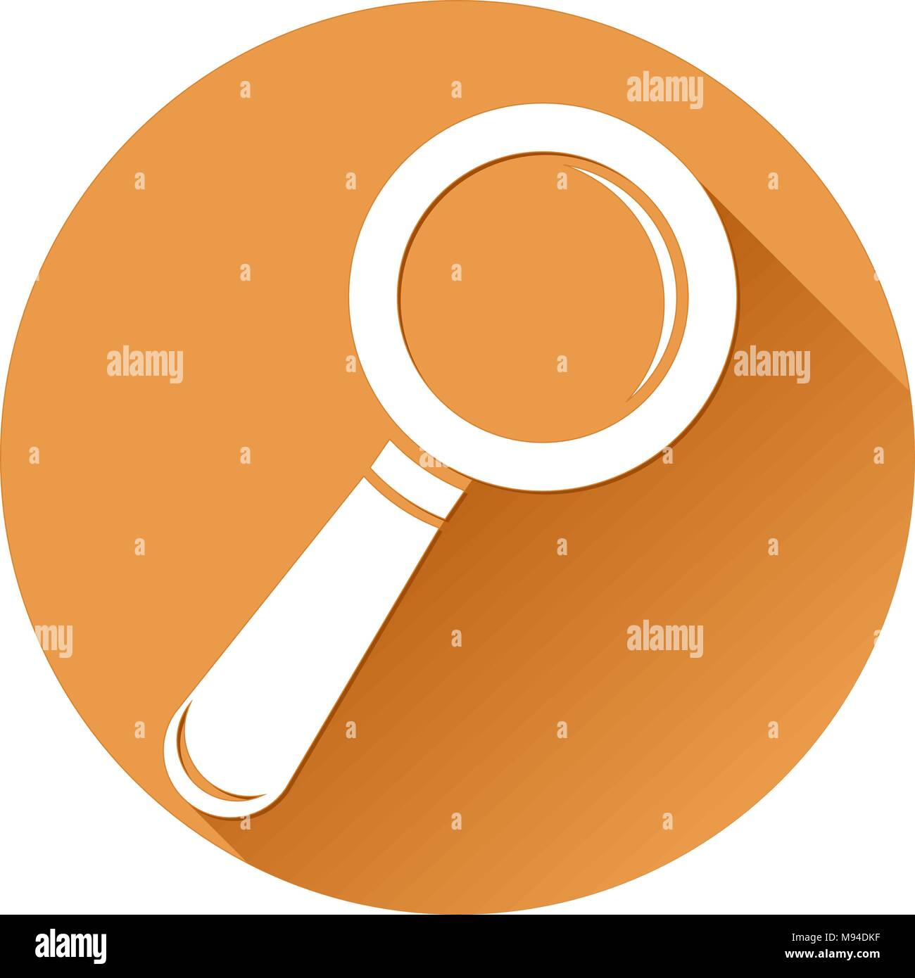 Magnifying glass. Orange round Search icon - Stock Vector