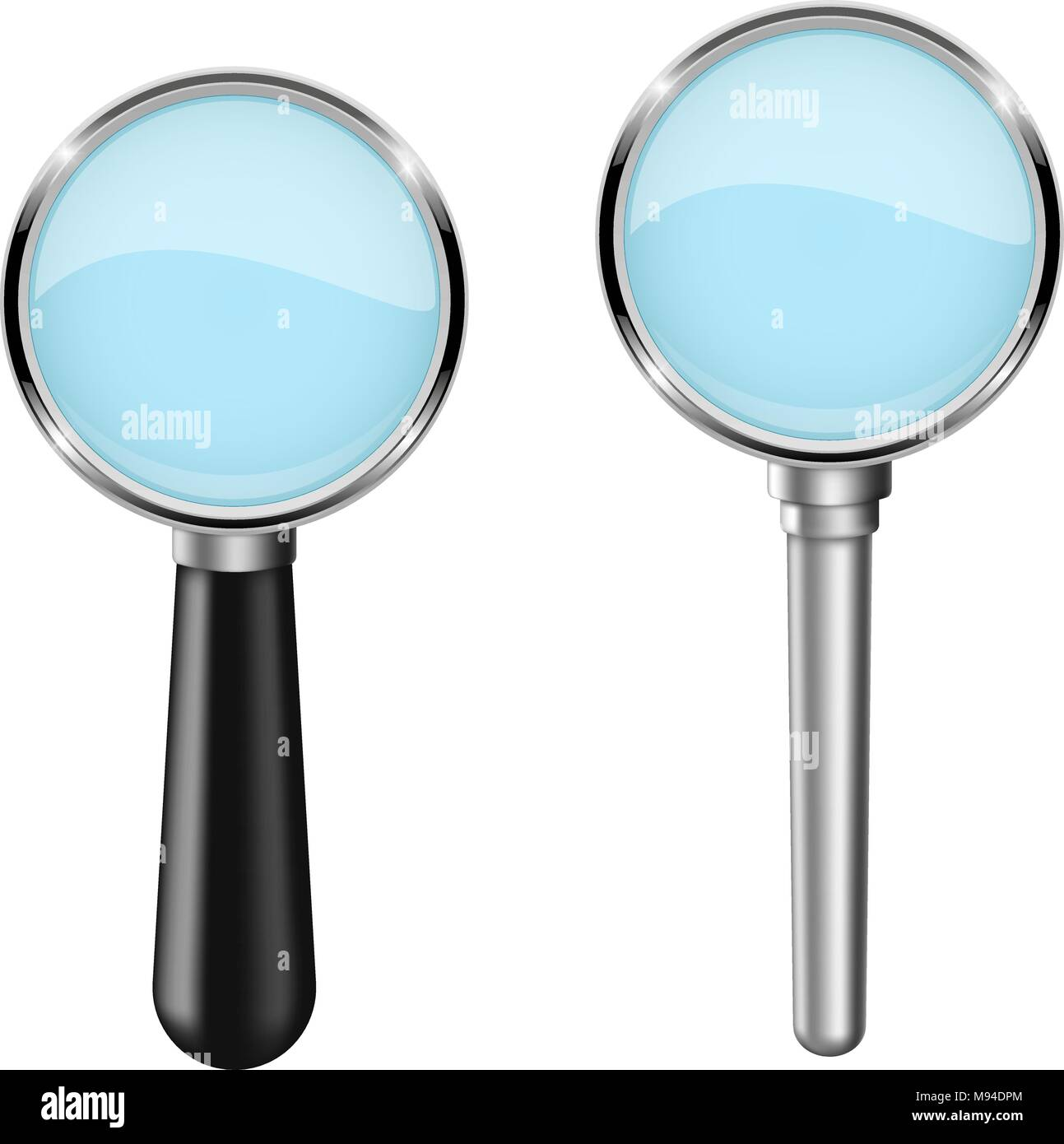 Transparent magnifying glass. Set. Vector 3d illustration isolated - Stock Image