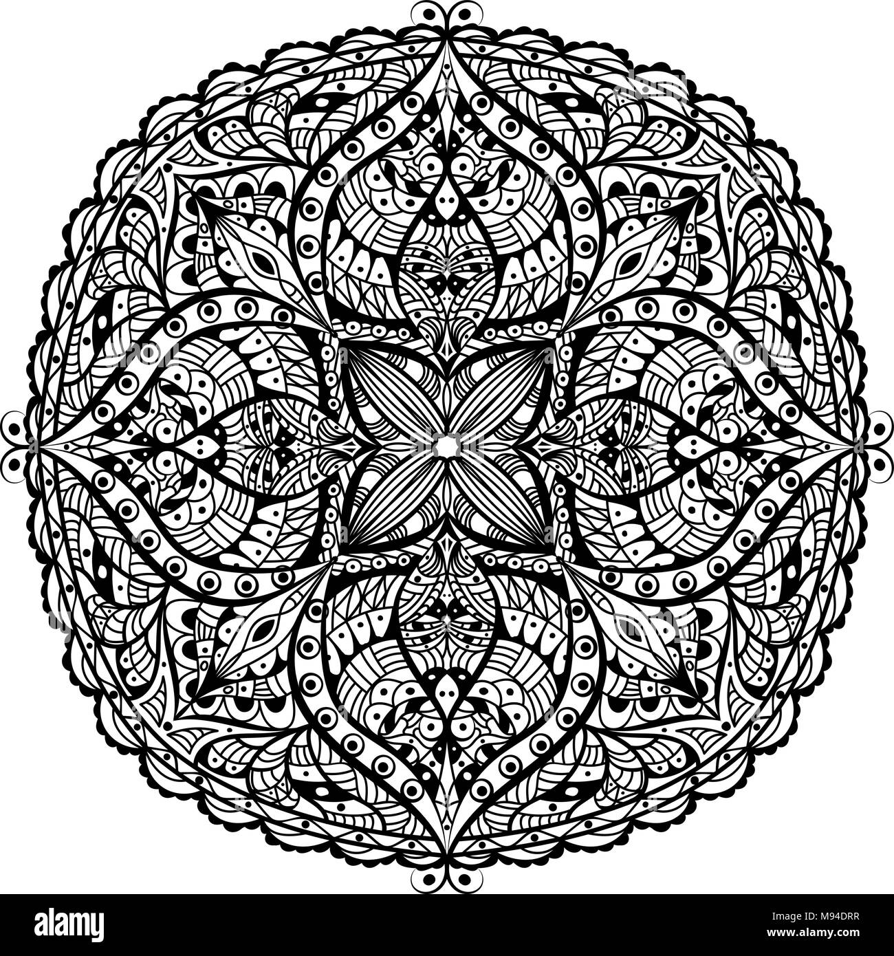 Mandala. Oriental decorative flower pattern - Stock Image
