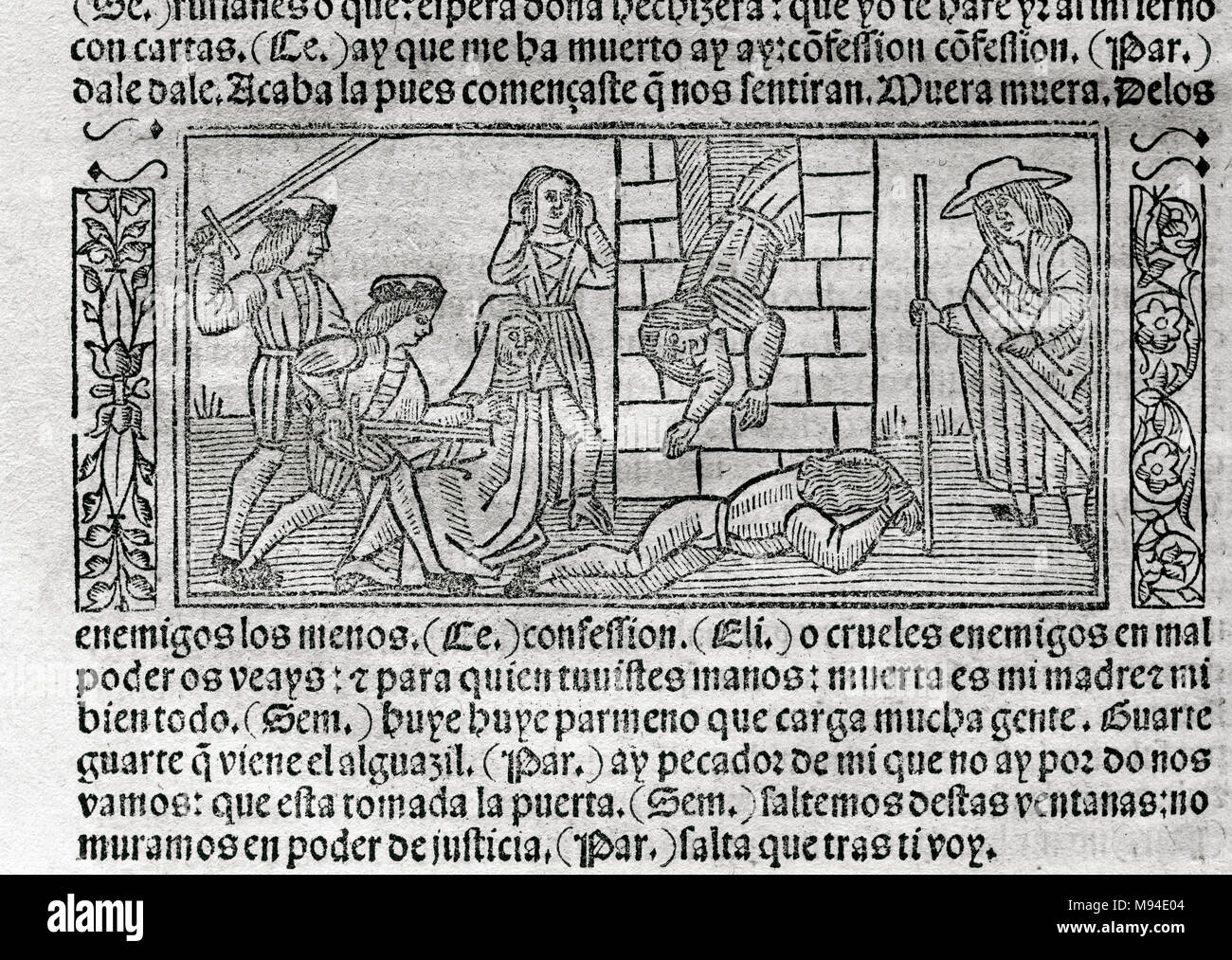 The Celestina or Tragicomedy of Calisto and Melibea (1499), by Fernando de Rojas (ca.1465-1541). Engraving depicting a scene. Edition printed in Burgos, Castile, Spain, 1531. Library of Catalonia. Barcelona. Catalonia. Spain. - Stock Image