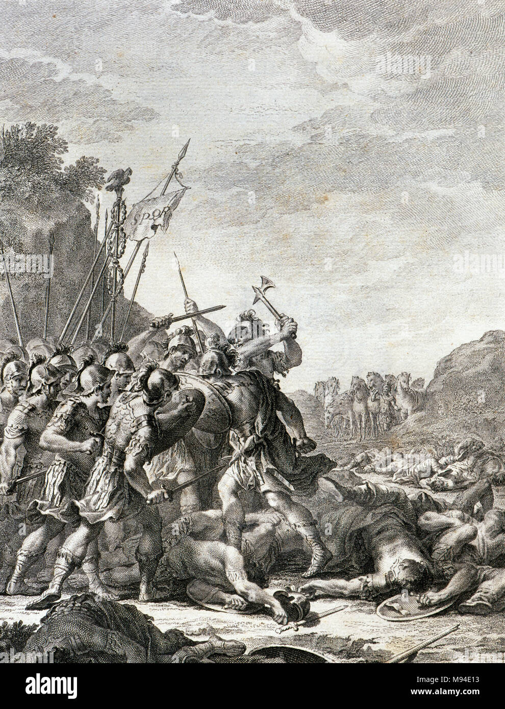 Sallust (Gaius Sallustius Crispus) (ca.86-35 BC). Roman historian and politician. The death of Catiline in Gaul. Engraving from The Conspiracy of Catilina, edition of 1772. Library of Catalonia. Barcelona, Catalonia, Spain. - Stock Image