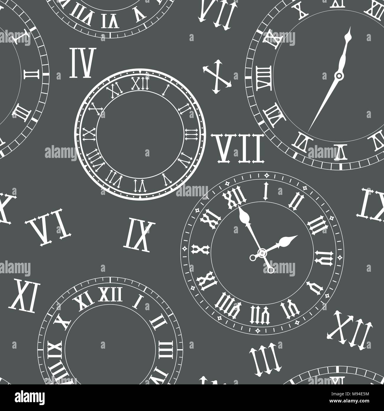 Time seamless pattern. Clocks, clock faces, roman numerals - Stock Image