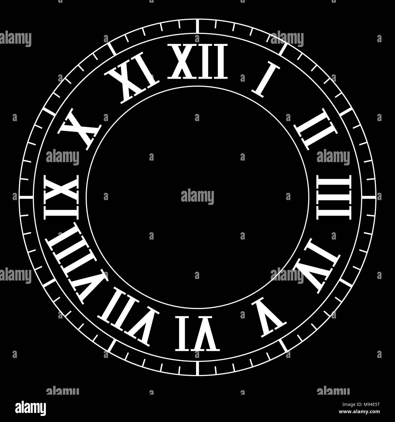 Clock face with roman numerals on black background - Stock Image