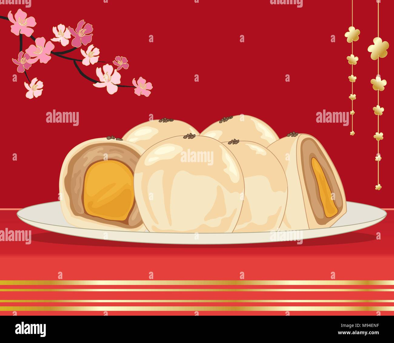 a vector illustration in eps 10 format of egg yolk cake from Taiwan on a white plate with whole and halves showing the filling Stock Vector