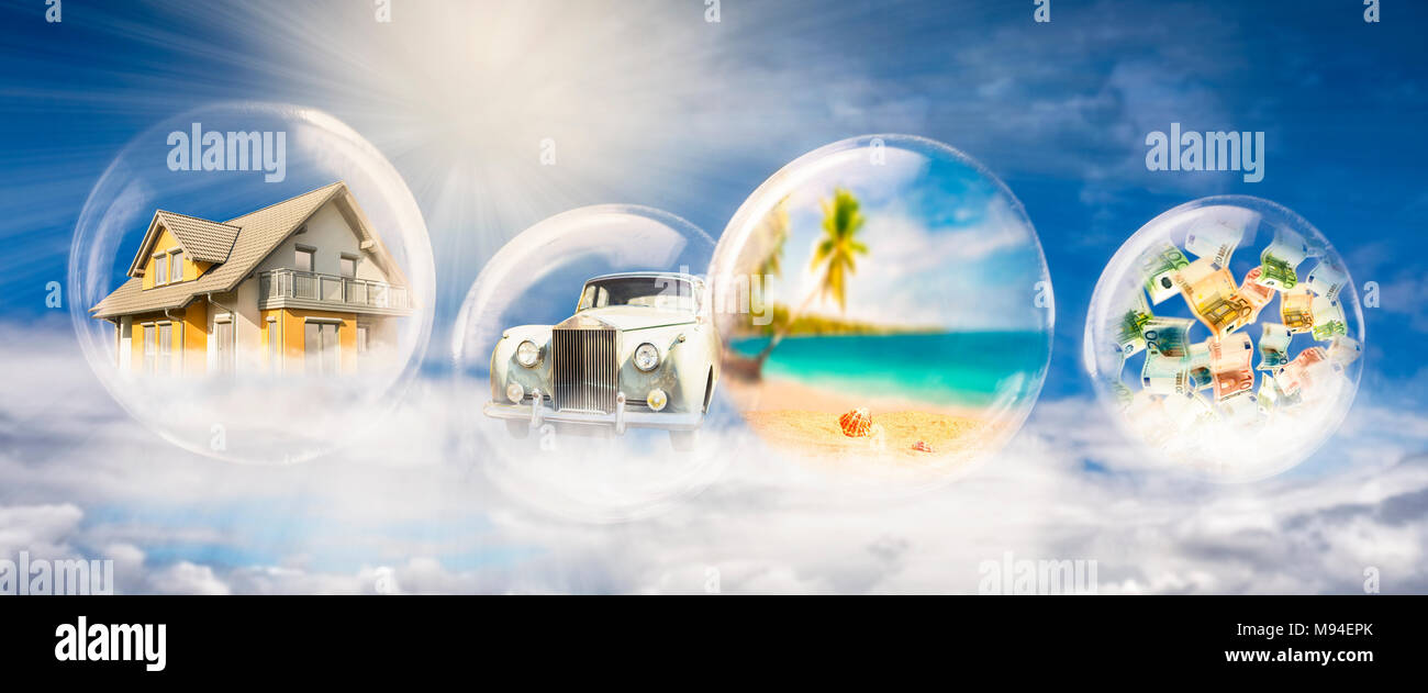Four soap bubbles with house, car, beach scene, and banknotes - Stock Image