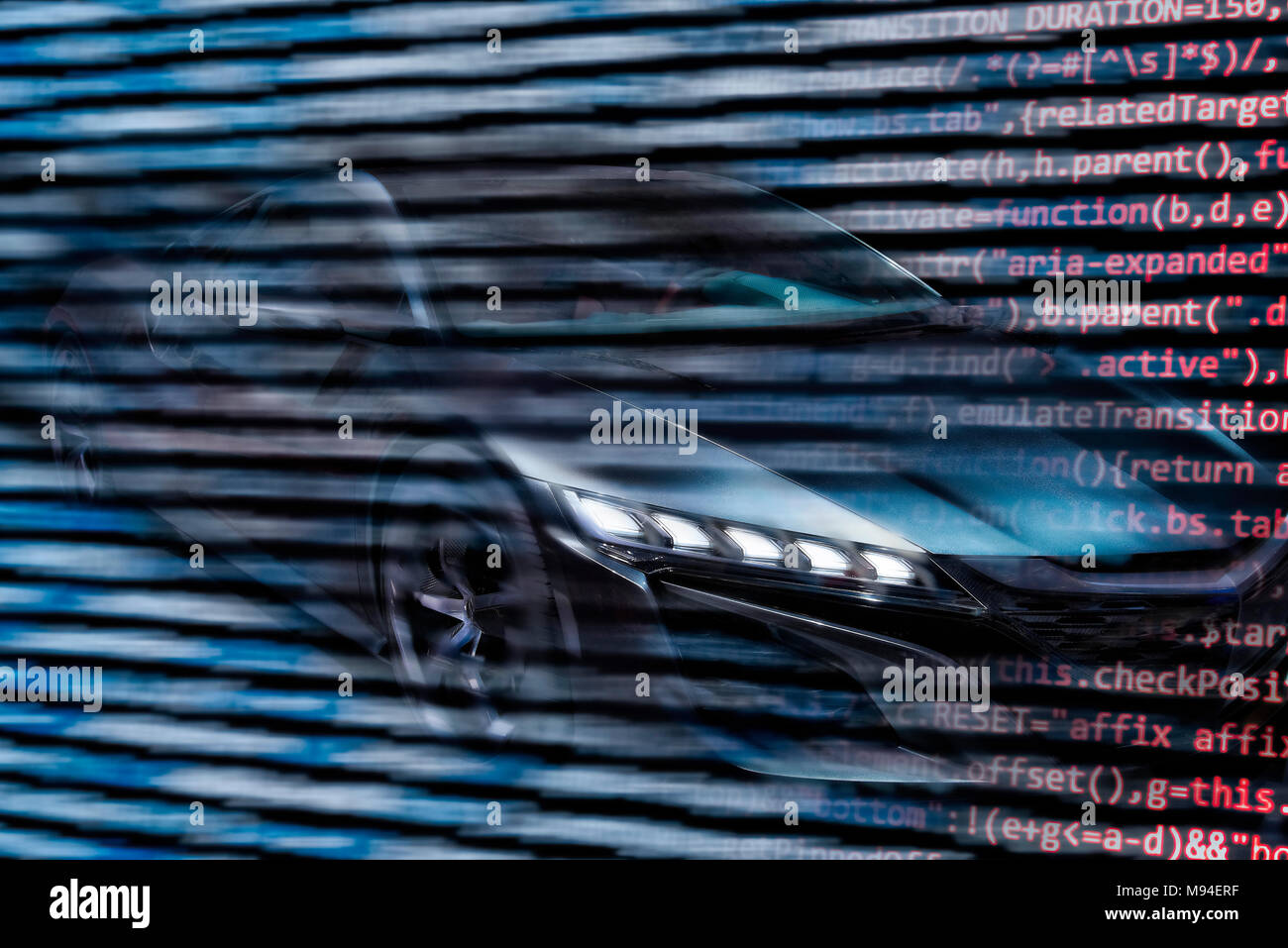 Futuristic car with digital code - Stock Image