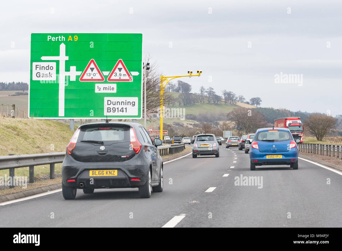 average speed cameras on A9 road, Scotland, UK - Stock Image