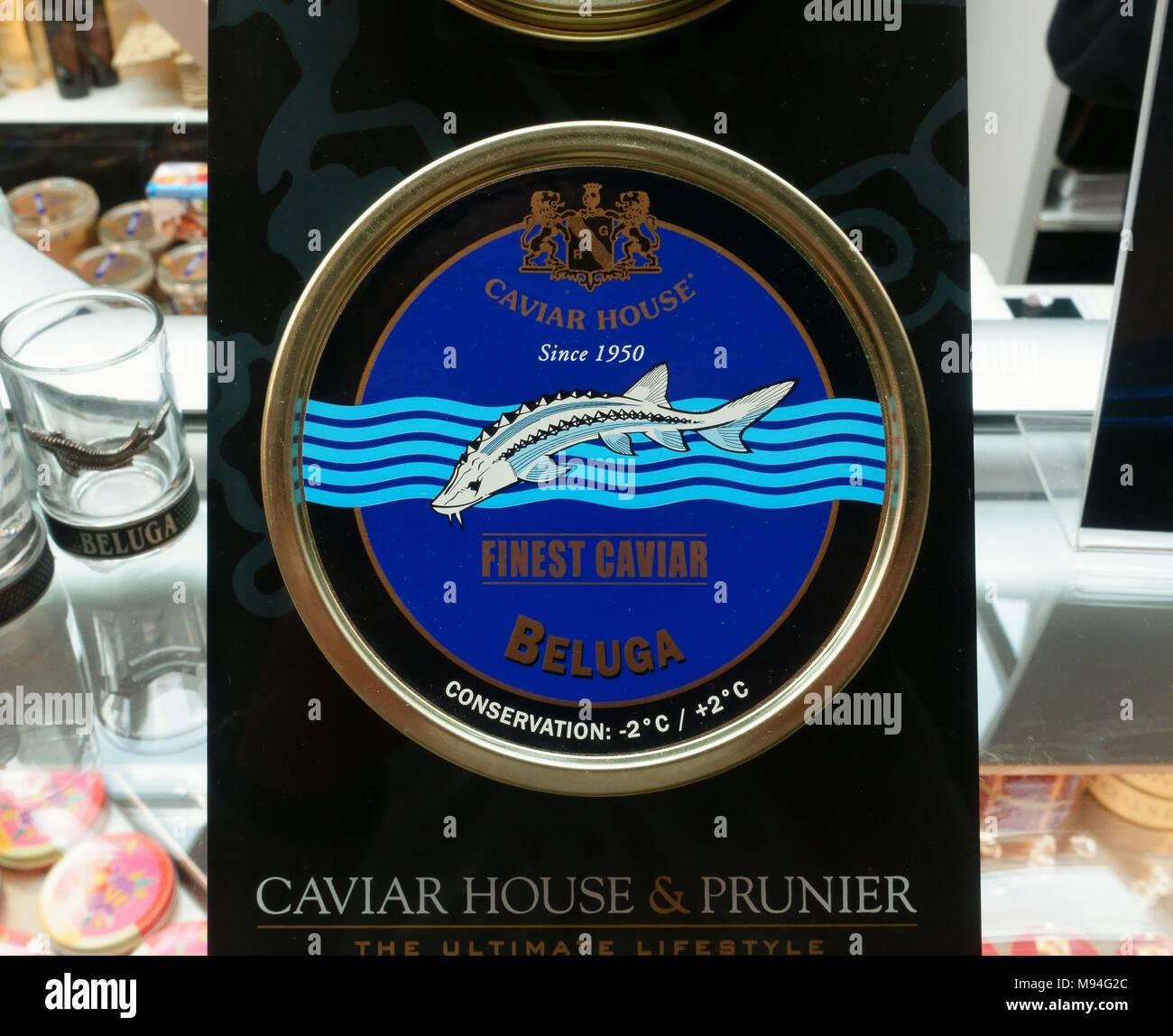 Finest Beluga caviar sold in tins at Geneva airport - Stock Image