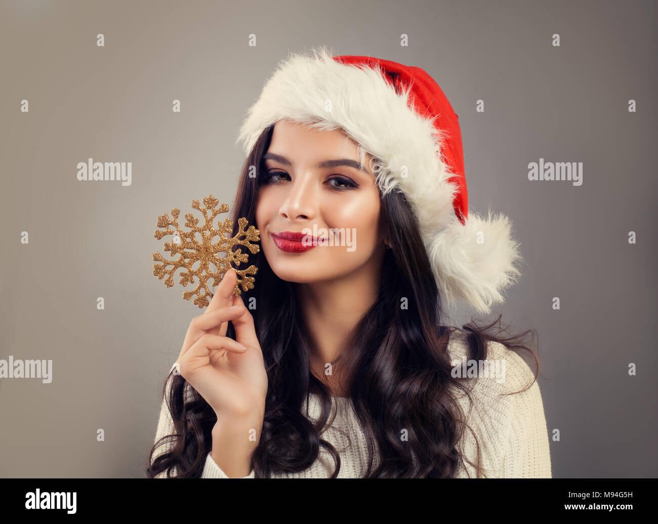 Christmas Model.Christmas Model Woman Smiling Cute Girl Brunette Wearing