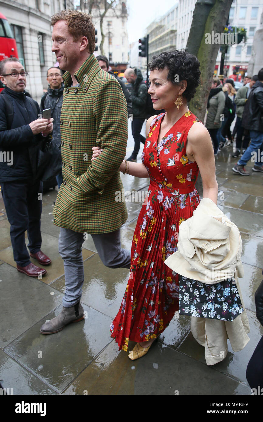 Damien Lewis and Helen McCrory leaving Erdem Moralioglu fashion show at National Portrait Gallery - London  Featuring: Damien Lewis, Helen McCrory Where: London, United Kingdom When: 19 Feb 2018 Credit: WENN.com - Stock Image
