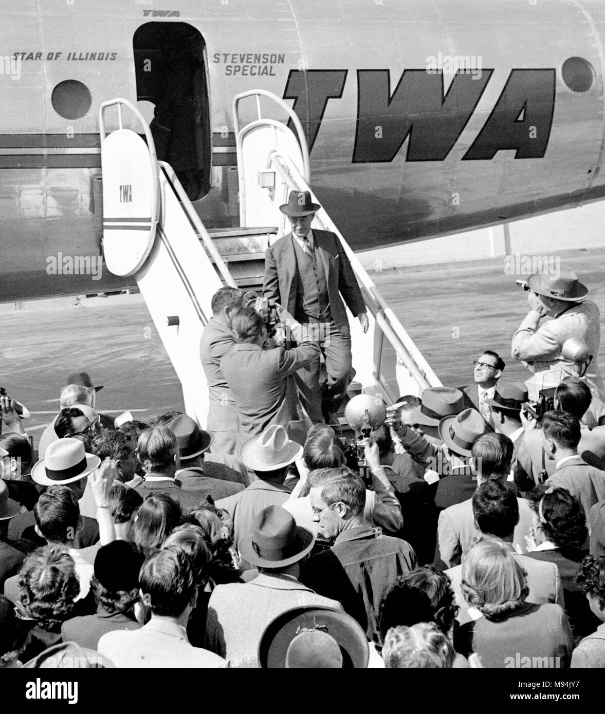 Democratic presidential candidate Adlai Stevenson arrives to campaign in Kansas City, Missouri in 1952. Stock Photo