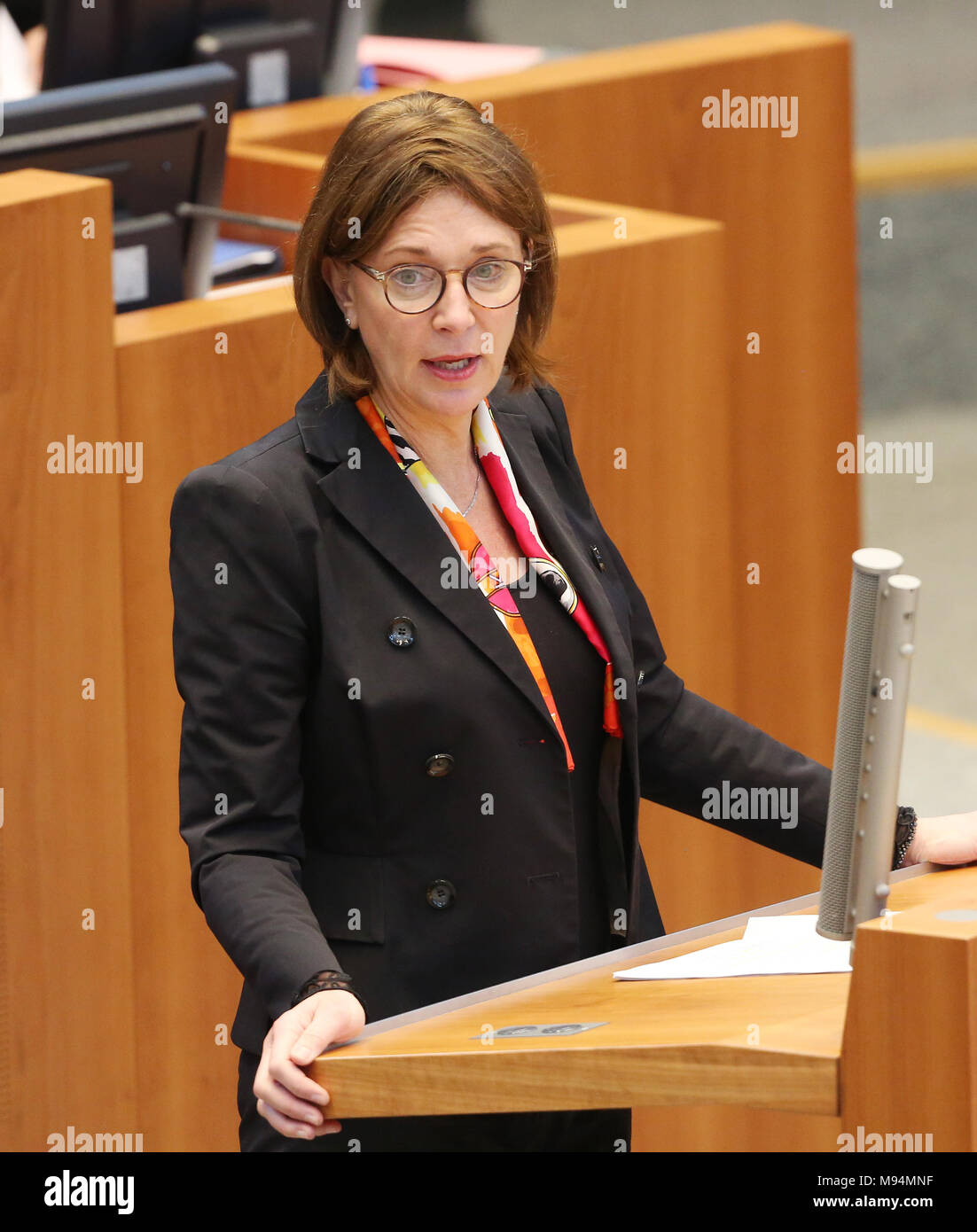 22 March 2018, Germany, Duesseldorf: North Rhine Westphalia's (NRW) Minister for Schools, Yvonne Gebauer, of the Free Democratic Party (FDP) speaking during the session of the north rhine-westphalian state parliament. Topics of the session are rules for the state's art foundation and the introduction of a legislation amendment in schools for nine years of school until A-levels. Photo: Roland Weihrauch/dpa - Stock Image