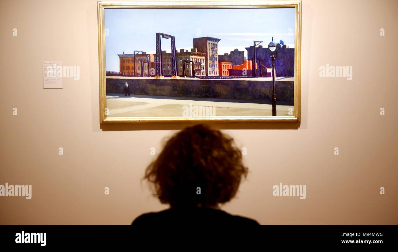 Oxford, UK. 22nd March, 2018. 'America's Cool Modernism' at the  Ashmolean Oxford.23 rd March. O'Keefe to Hopper.  Manhattan Bridge Loop, 1928 by Edward Hopper  Richard Cave Photography/Alamy - Stock Image