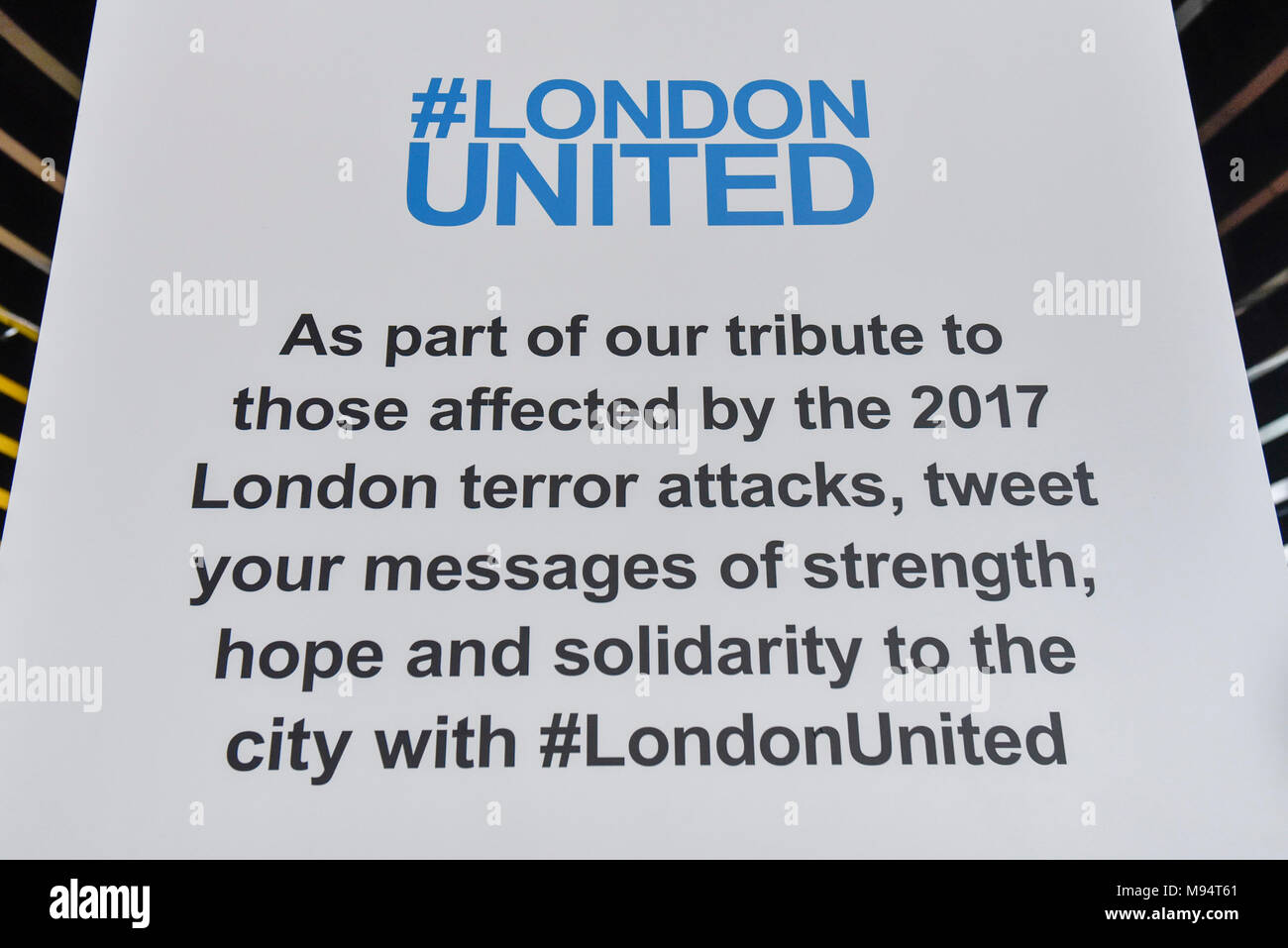 London, UK.  22 March 2018.  A 3D interactive installation is unveiled at City Hall as part of the Mayor of London's #LondonUNITED initiative on the first anniversary of the Westminster terror attack.  Wellwishers are encouraged to leave messages on a digital book of condolence with comments being projected on to a map of London on the floor.  Credit: Stephen Chung / Alamy Live News - Stock Image