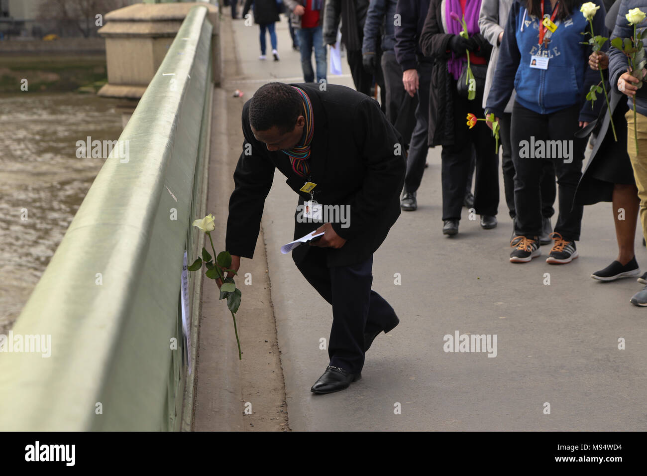 Westminster Bridge, London, United Kingdom. 22nd March 2018. London united: one year on from the terror attacks in Westminster - Memorial ceremony commemorating the first anniversary of the Westminster Terror attacks and the death of Keith Palmer and all others killed in the terror attack on the 22 March 2017. Credit: Aron Robert Williams/ Alamy Live News - Stock Image