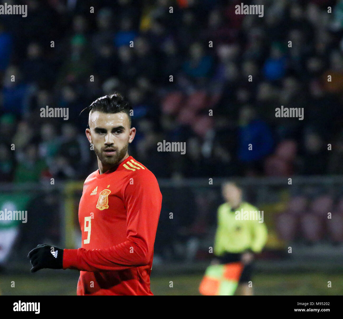 Shamrock Park, Portadown, Northern Ireland UK. 22 March 2018. International football - 2019 UEFA Under 21 Championship Qualifier - Group 2 - Northern Ireland v Spain. Spain's Borja Mayoral (9) netted a hat-trick. Credit: David Hunter/Alamy Live News. - Stock Image