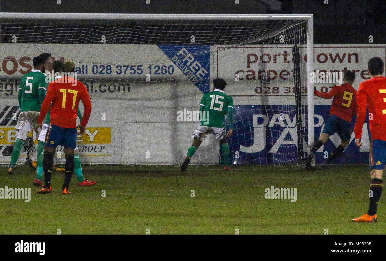 Shamrock Park, Portadown, Northern Ireland UK. 22 March 2018. International football - 2019 UEFA Under 21 Championship Qualifier - Group 2 - Northern Ireland v Spain. Borja Mayoral (9) completes his hat-trick for Spain. Credit: David Hunter/Alamy Live News. - Stock Image