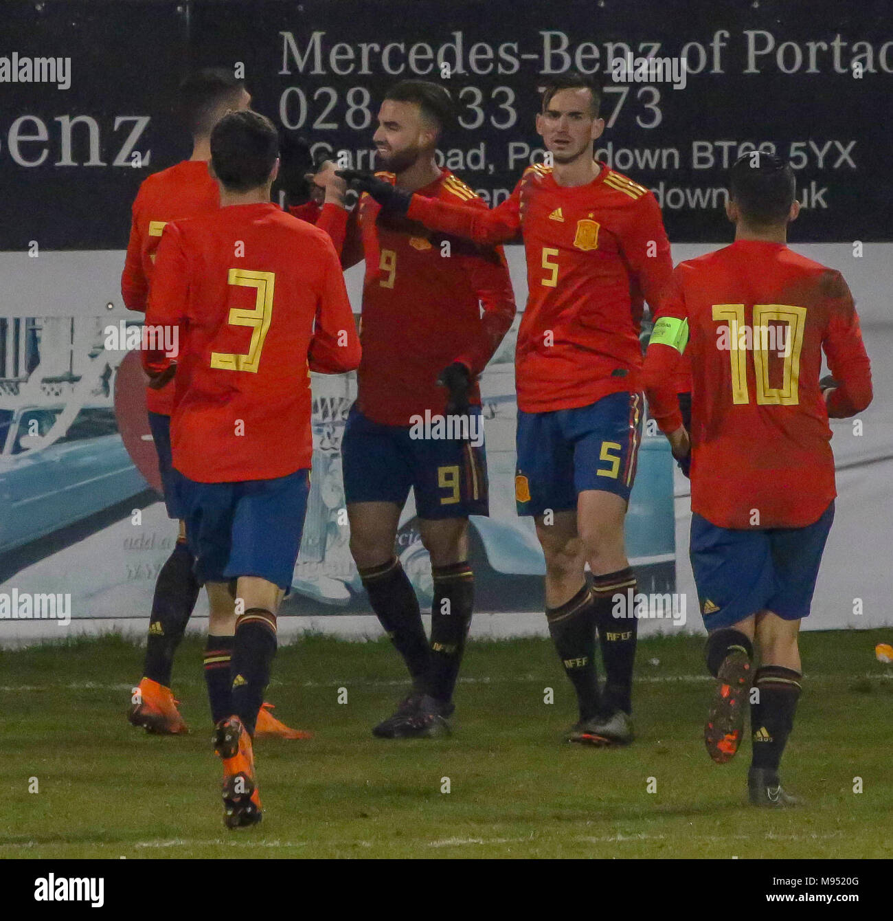 Shamrock Park, Portadown, Northern Ireland UK. 22 March 2018. International football - 2019 UEFA Under 21 Championship Qualifier - Group 2 - Northern Ireland v Spain. Borja Mayoral (9) celebrates his hat-trick for Spain. David Hunter/Alamy Live News. - Stock Image