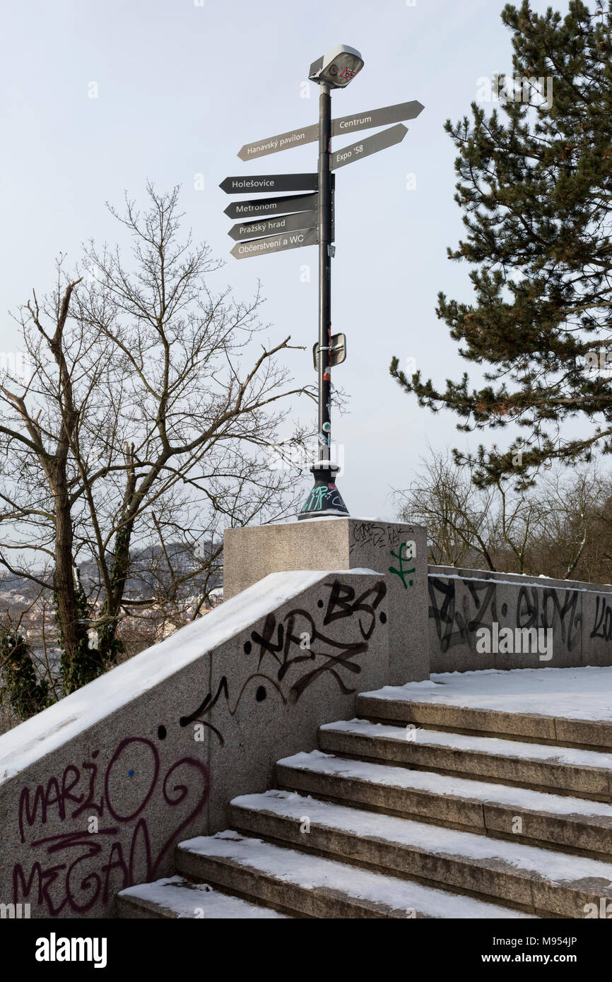 Stalinist architecture in Letna Park (Letenske Sady), on 18th March, 2018, in Prague, the Czech Republic. Up until it was destroyed by Soviet leader Nikita Kruschev, the largest statue to Stalin in the entire Eastern Bloc was located here. It is now a favourite place skateboard park, dog walkers and families. Stock Photo