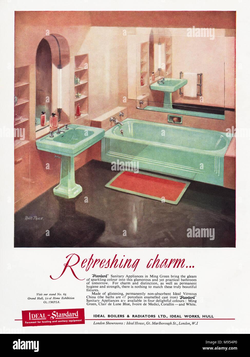 1950s original old vintage advertisement advertising Ideal-Standard bathrooms of Hull England UK in English magazine circa 1951 - Stock Image