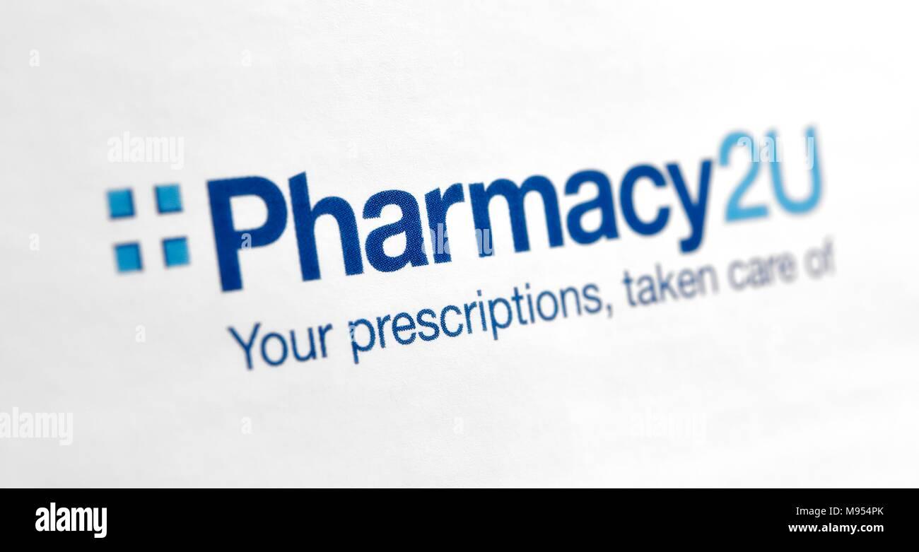 Pharmacy 2u repeat prescription service logo - Stock Image
