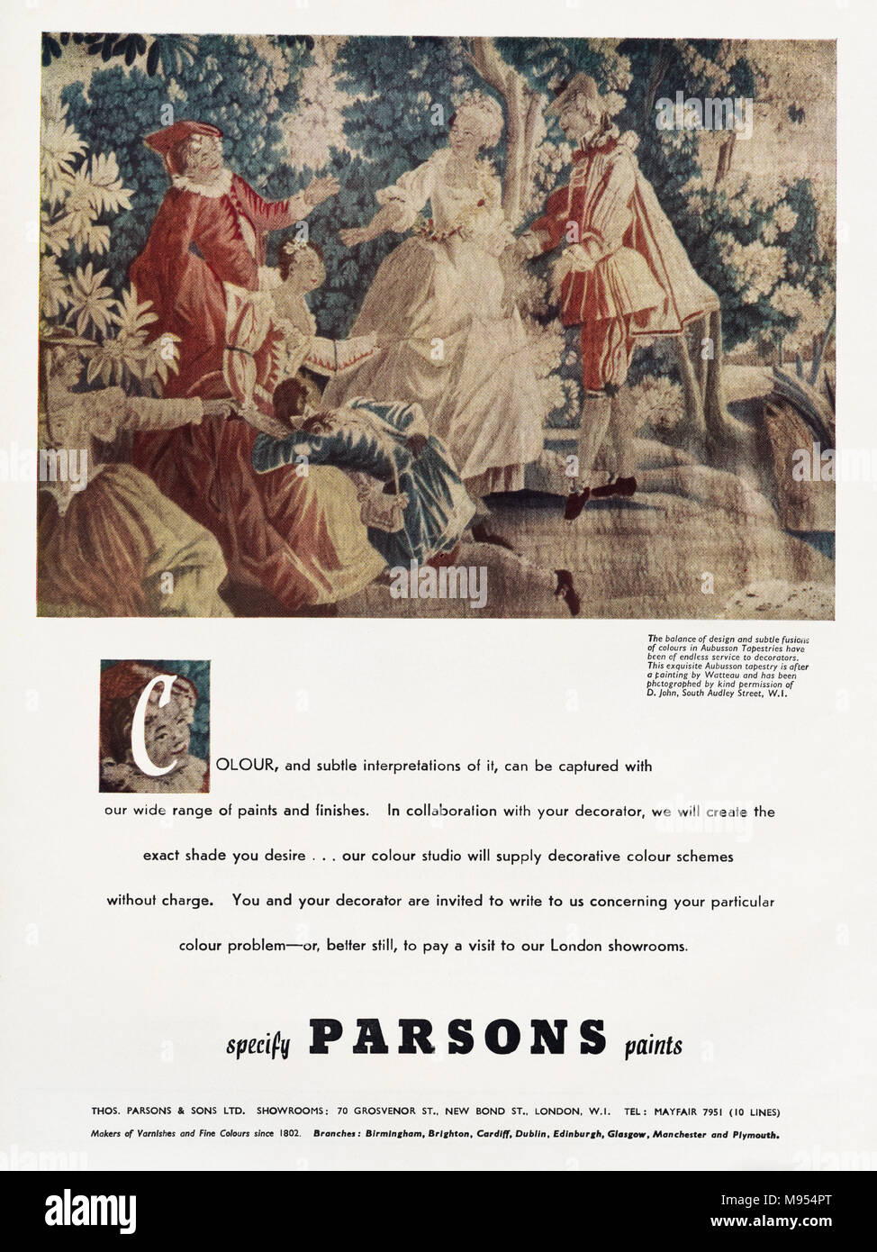 1950s original old vintage advertisement advertising Parsons paints in English magazine circa 1951 - Stock Image