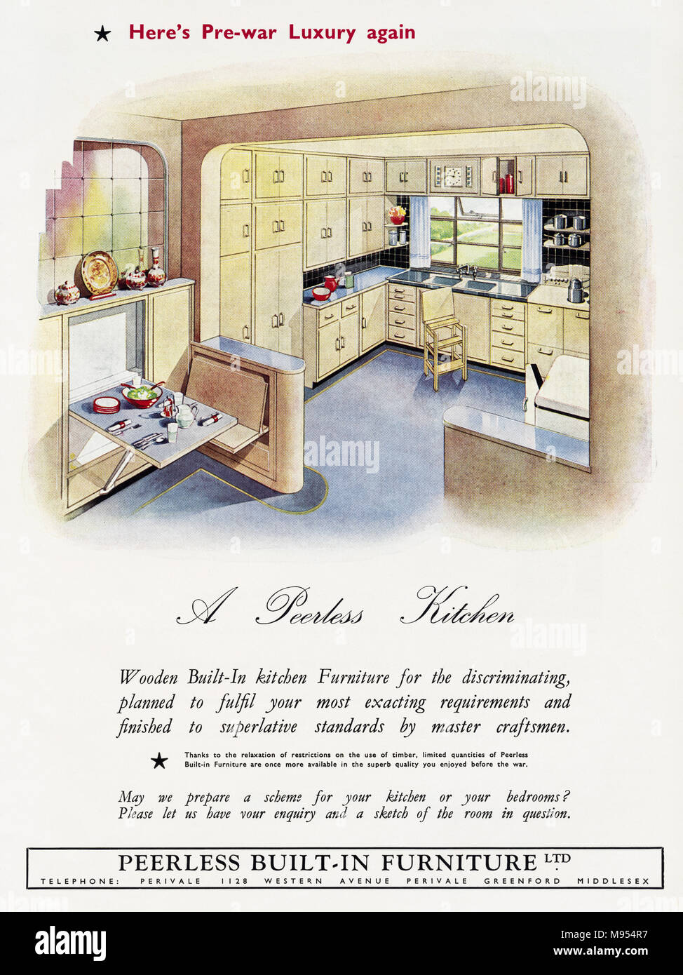1950s Kitchen Ad Stock Photos Images Alamy Peerless Industrial Mixer Wiring Diagram Original Old Vintage Advertisement Advertising Fitted Kitchens Of Perivale Greenford Middlesex England Uk In