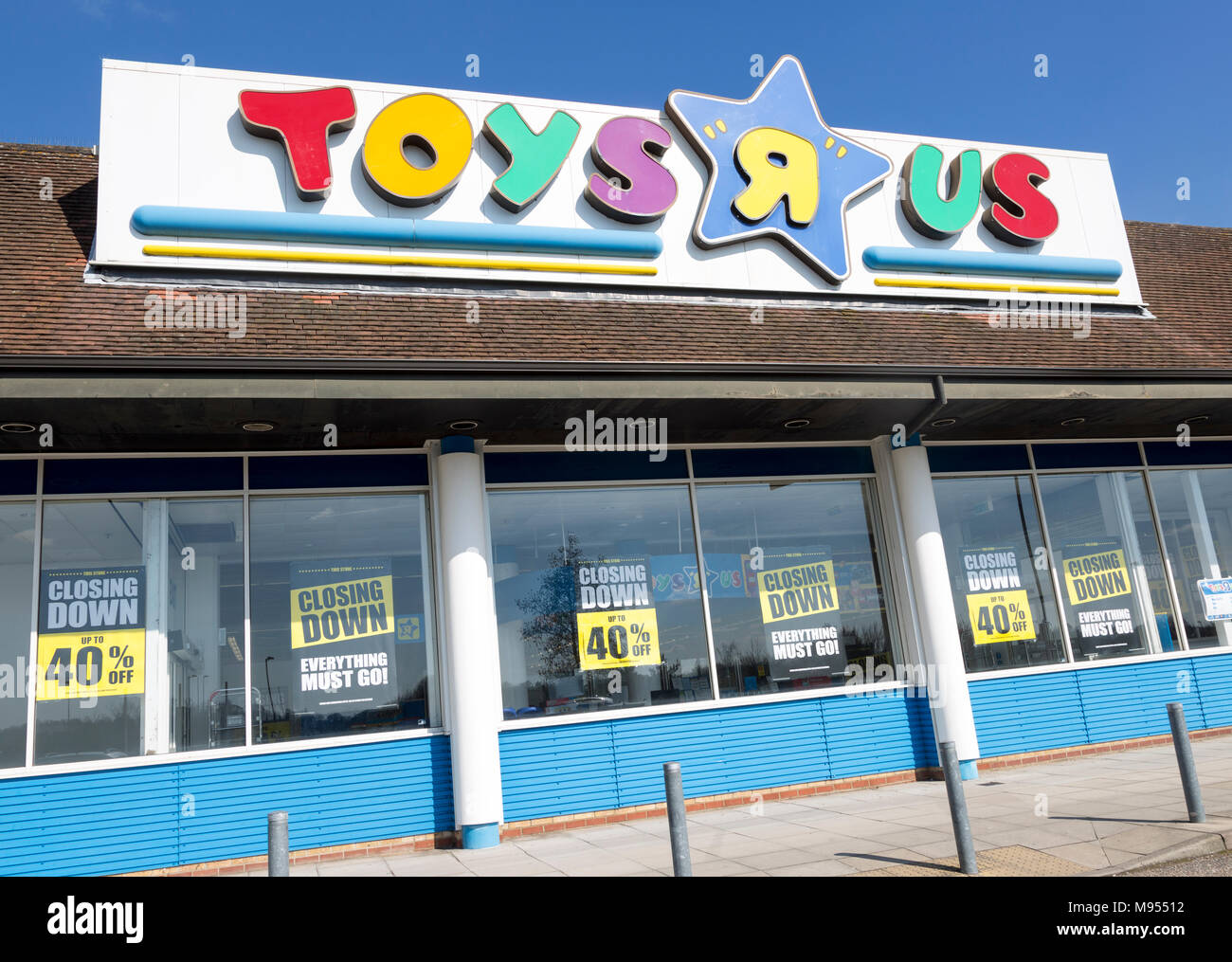 Toys R Us store shop closing down, Copdock, Ipswich, Suffolk, England, UK 21 Match 2018 - Stock Image