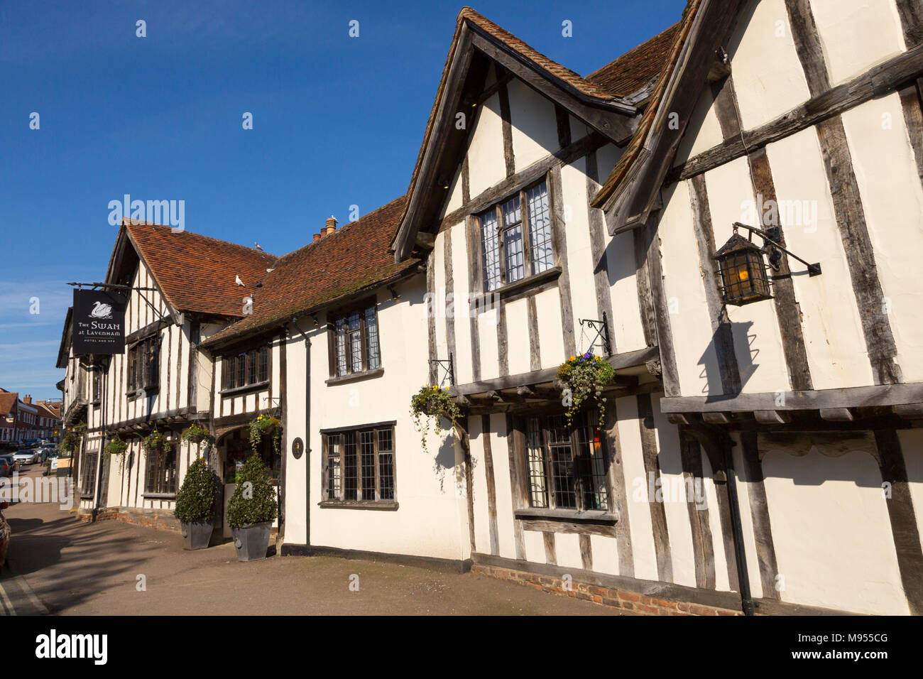 Historic Tudor architecture of the Swan Hotel, Lavenham, Suffolk, England, UK Stock Photo