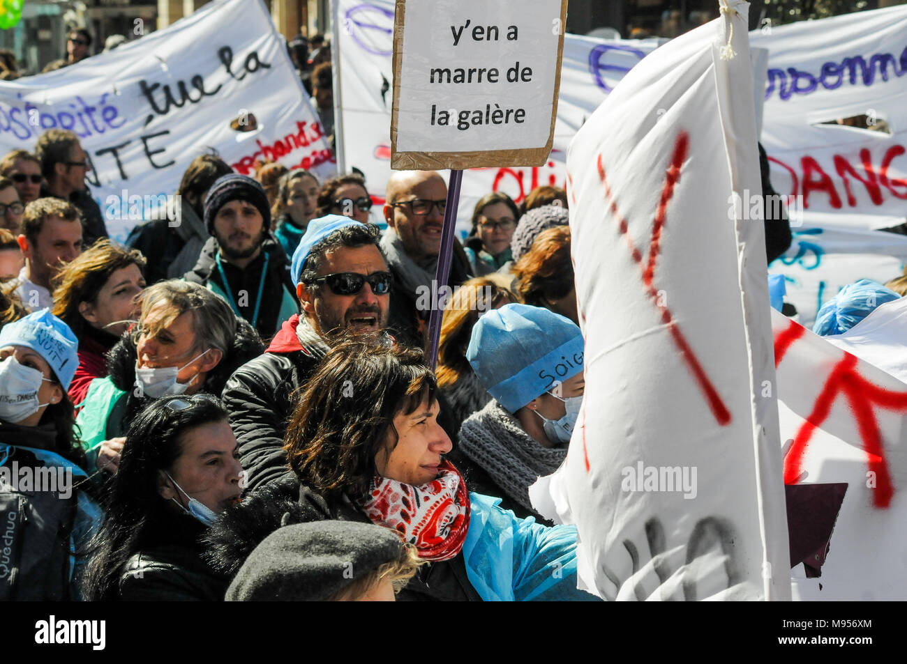 Protesters march against French government's string of reforms, Lyon, France - Stock Image