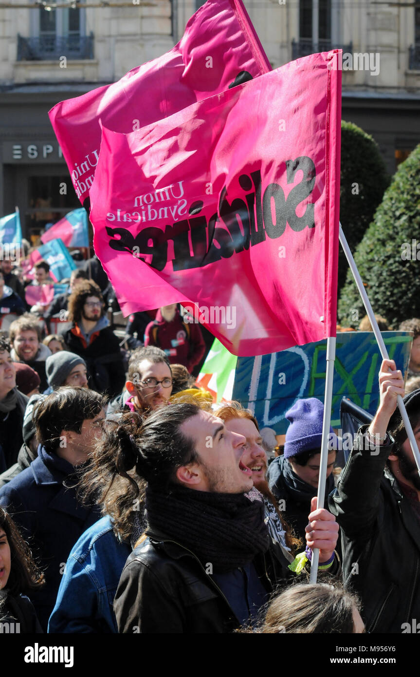 Protesters march against French government's string of reforms, Lyon, France Stock Photo