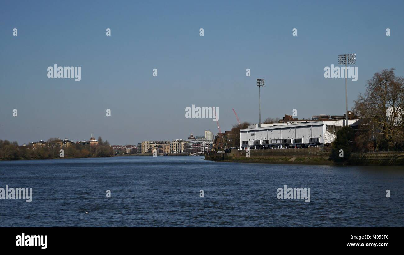 Fulham Football Club Building from the River Thames in Putney London Uk - Stock Image