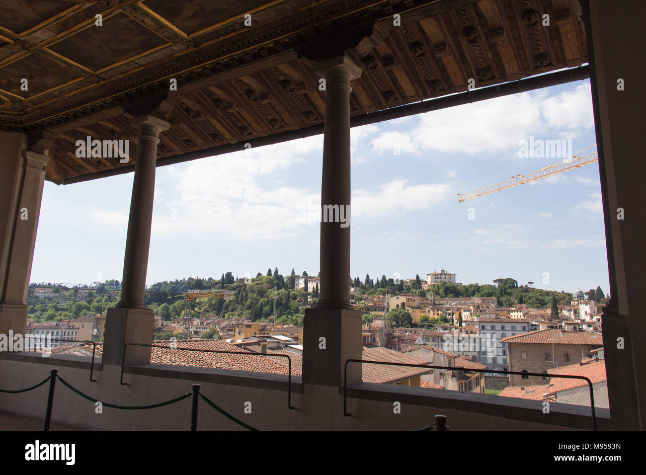 Italy, Florence - May 18 2017: the view from Terrace of Saturn at Palazzo Vecchio on May 18 2017 in Florence, Italy. Stock Photo