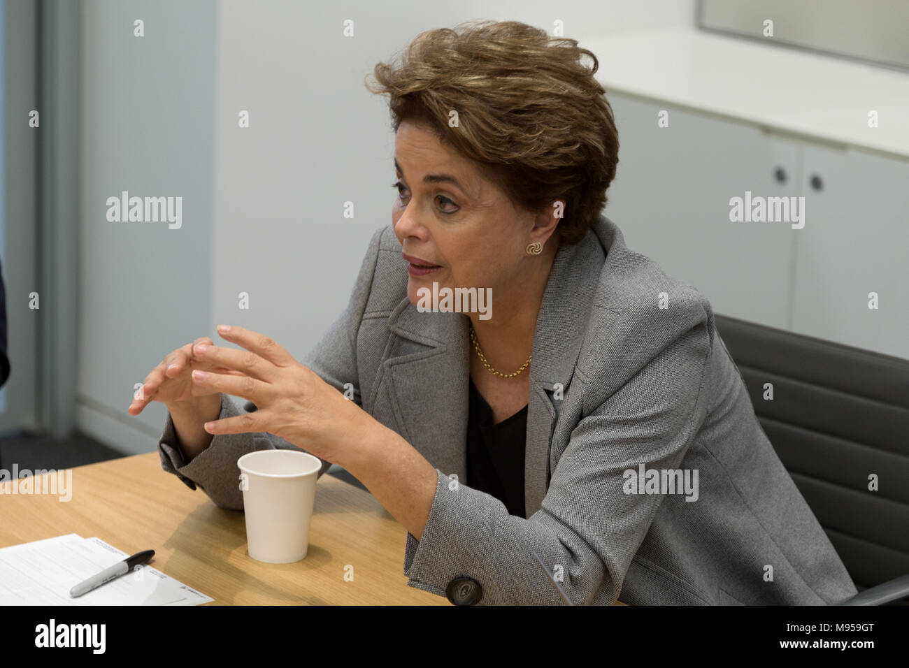 Princeton, NJ, USA - 13 April, 2017. Former Brazilian president Dilma Rousseff delivering a speech at Princeton University, United States - Stock Image