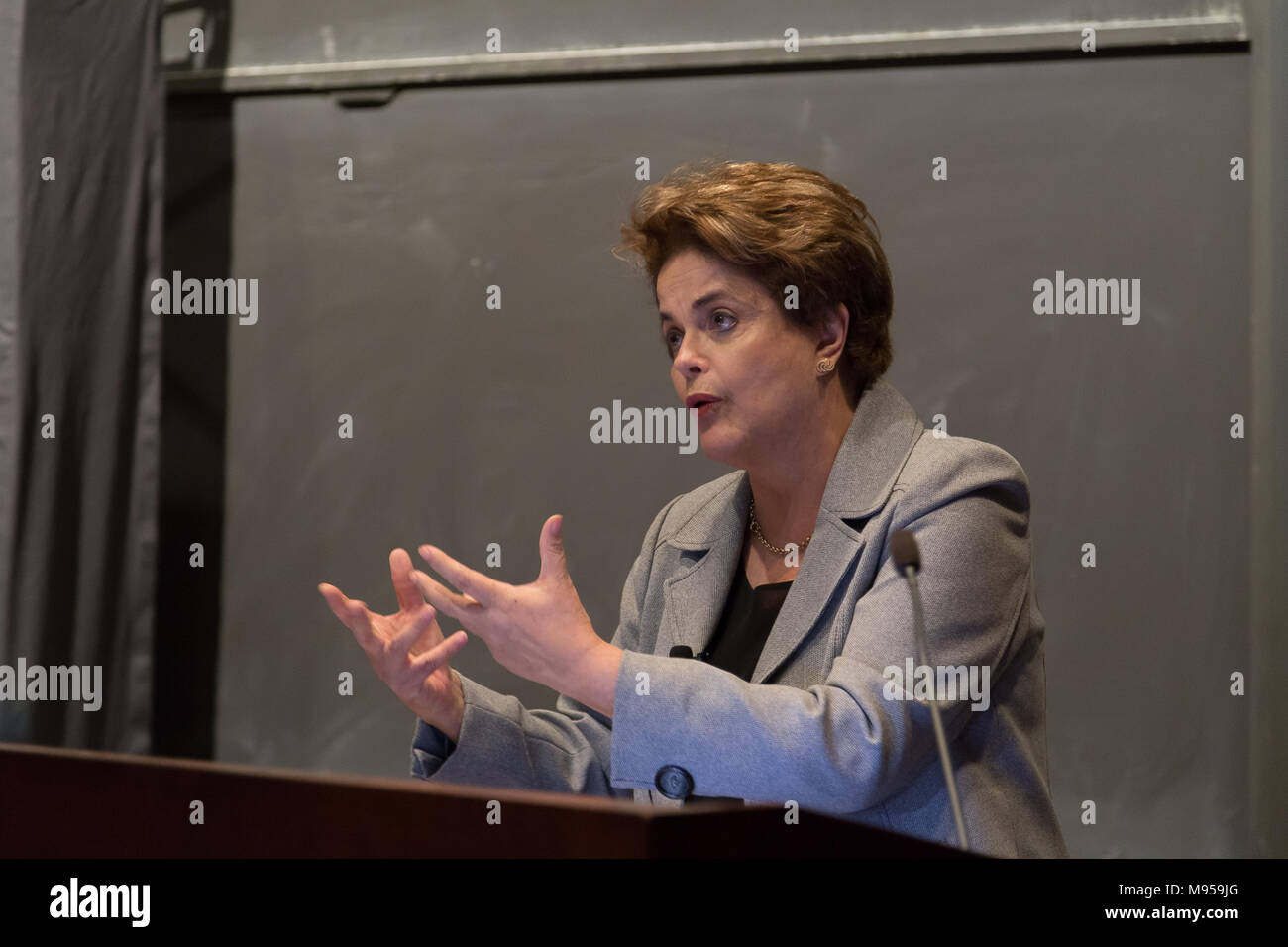 Princeton, NJ, USA, April 13, 2017. Former Brazilian President Dilma Rousseff delivering a conference at Princeton University - Stock Image