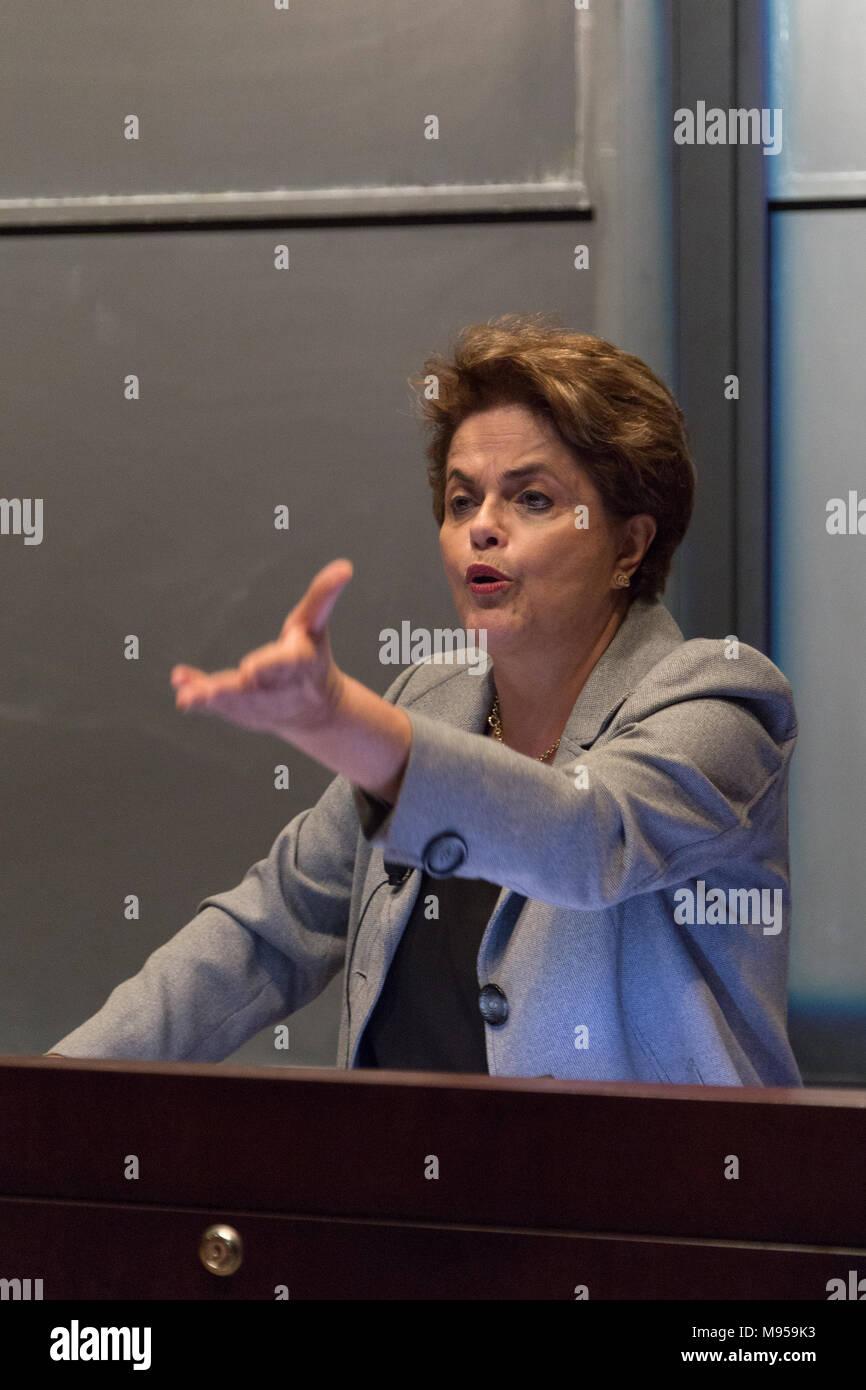 Princeton, NJ, April 13, 2018. Former Brazilian President Dilma Rousseff delivers conference at Princeton University, United States - Stock Image