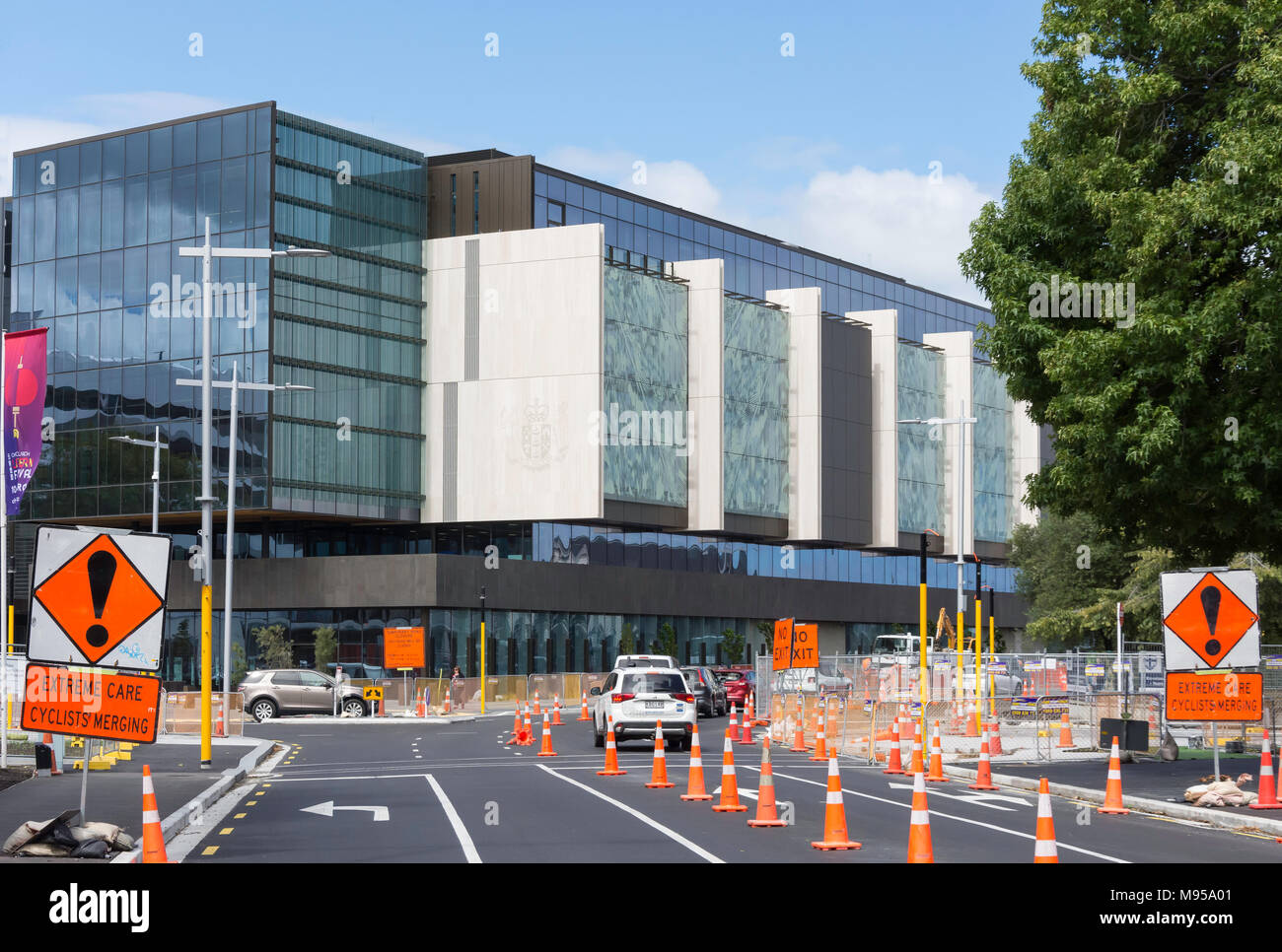 New Christchurch Justice and Emergency Services Precinct building, Tuam Street, Christchurch Central, Christchurch, Canterbury, New Zealand - Stock Image