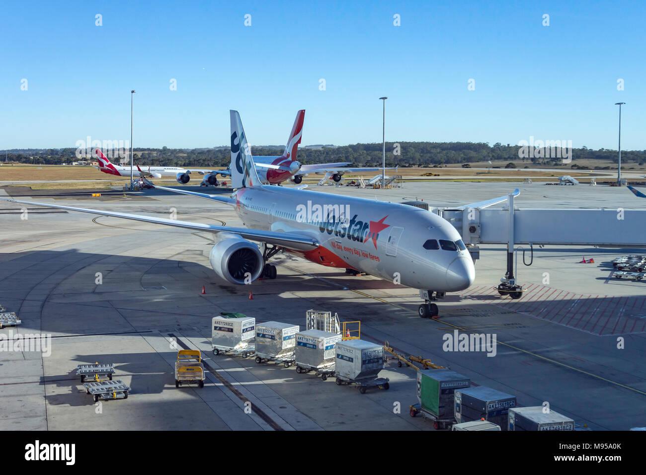 Jetstar Boeing 787-8 Dreamliner at Melbourne Tullamarine Airport, Melbourne, Victoria, Australia - Stock Image