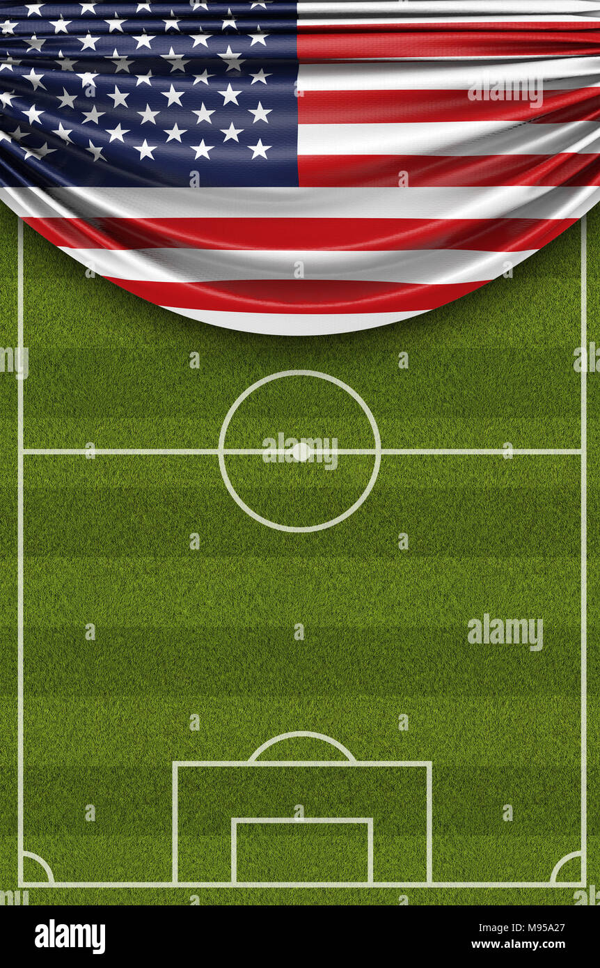 United States country flag draped over a football soccer pitch. 3D Rendering - Stock Image