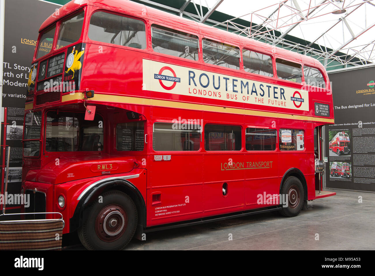 A 1957 Leyland Routemaster prototype bus – RML3 in the London Bus Museum at Brooklands Museum, Weybridge, Surrey, England Stock Photo