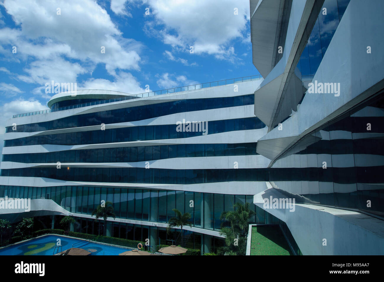 View for Conrad Hotel room in Pasay Philippines - Stock Image