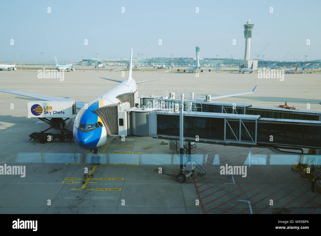 Incheon, Korea - August 7, 2016 : The plane at the airport Stock Photo