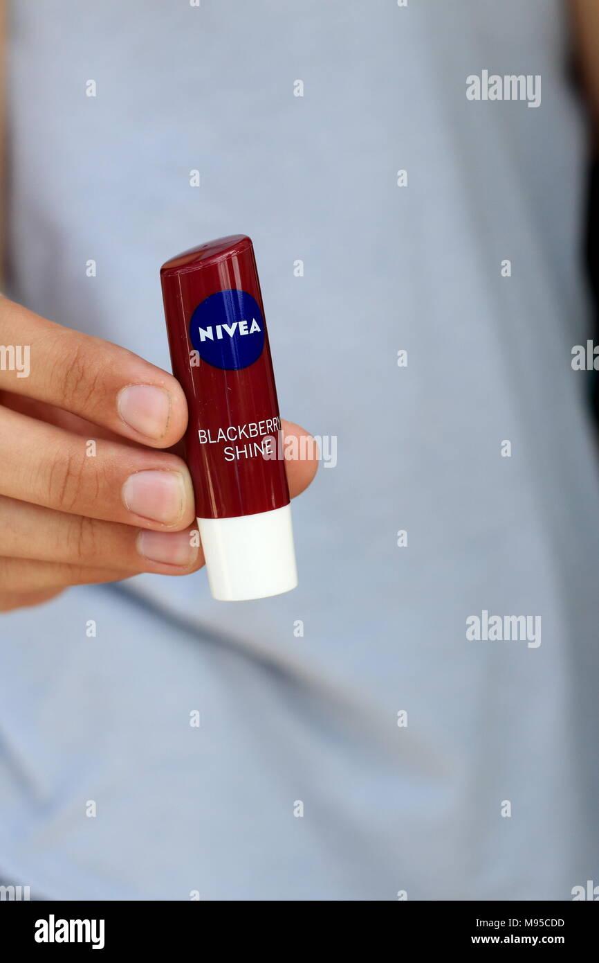 Nivea Blackberry shine Lip balm - Stock Image