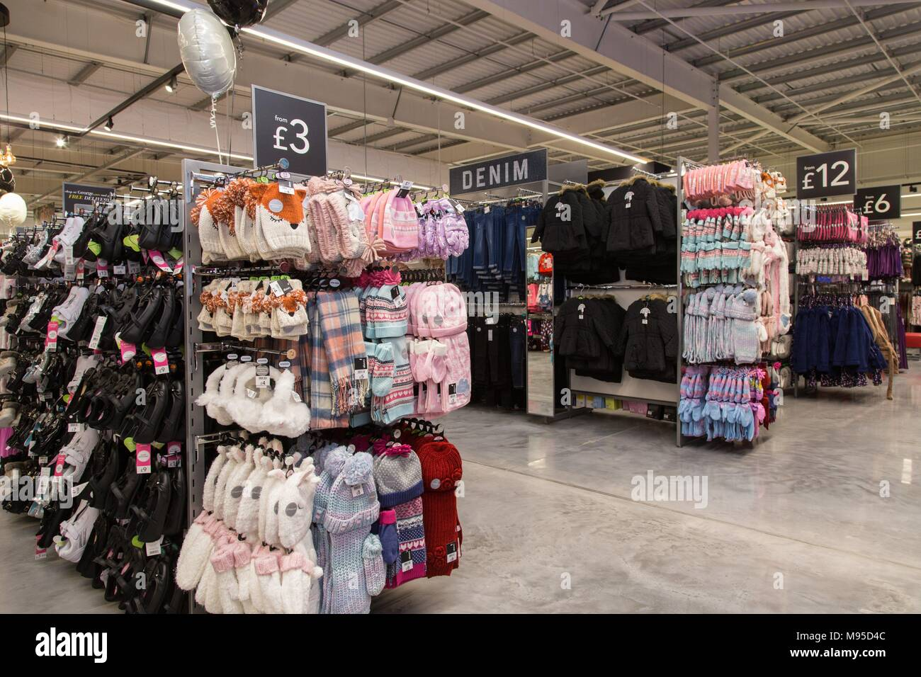 Clothing on sale in the George section of an Asda supermarket. - Stock Image