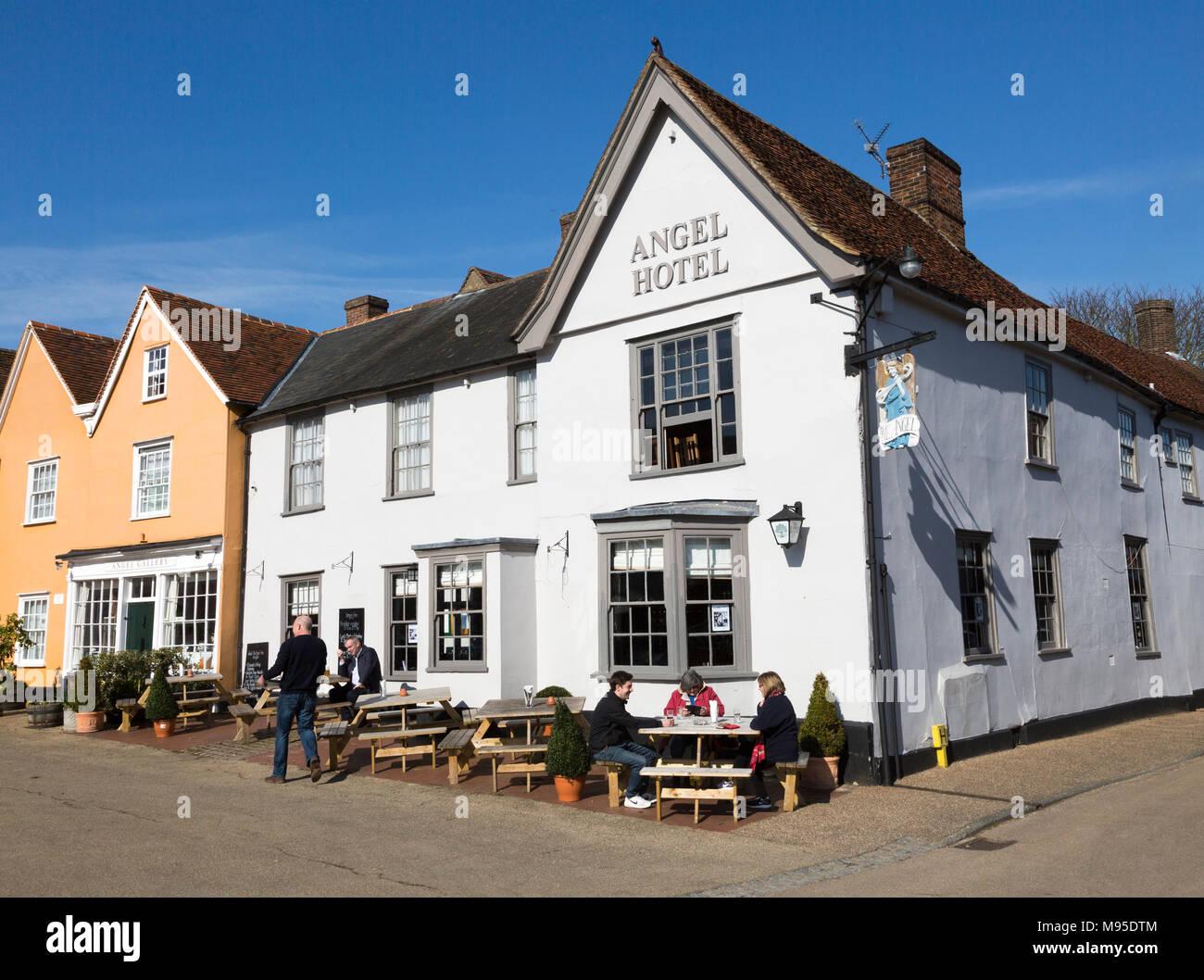 Historic architecture of the Angel Hotel, Lavenham, Suffolk, England, UK - Stock Image