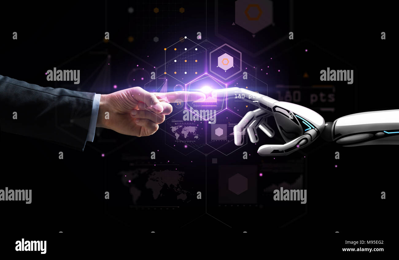 robot and human hand over virtual projection - Stock Image