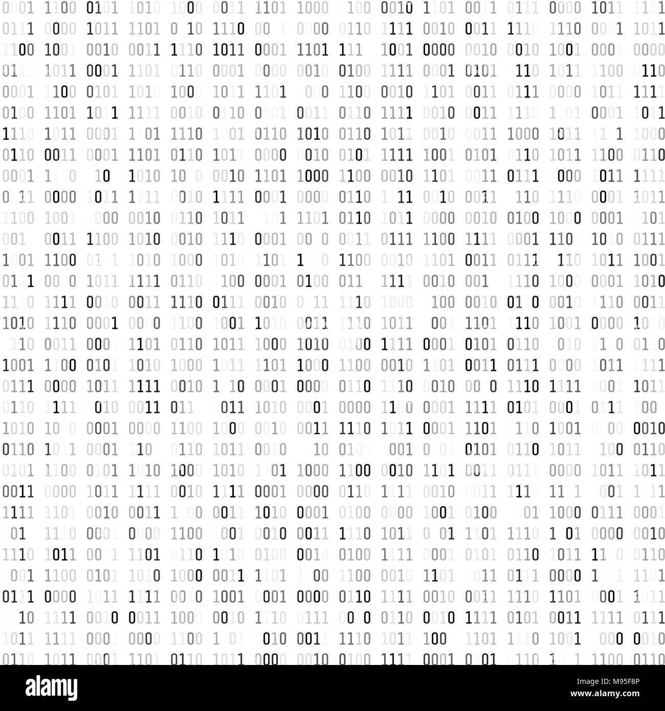 Random binary coding. Technology digital background. Black and white binary code. Vector illustration - Stock Image