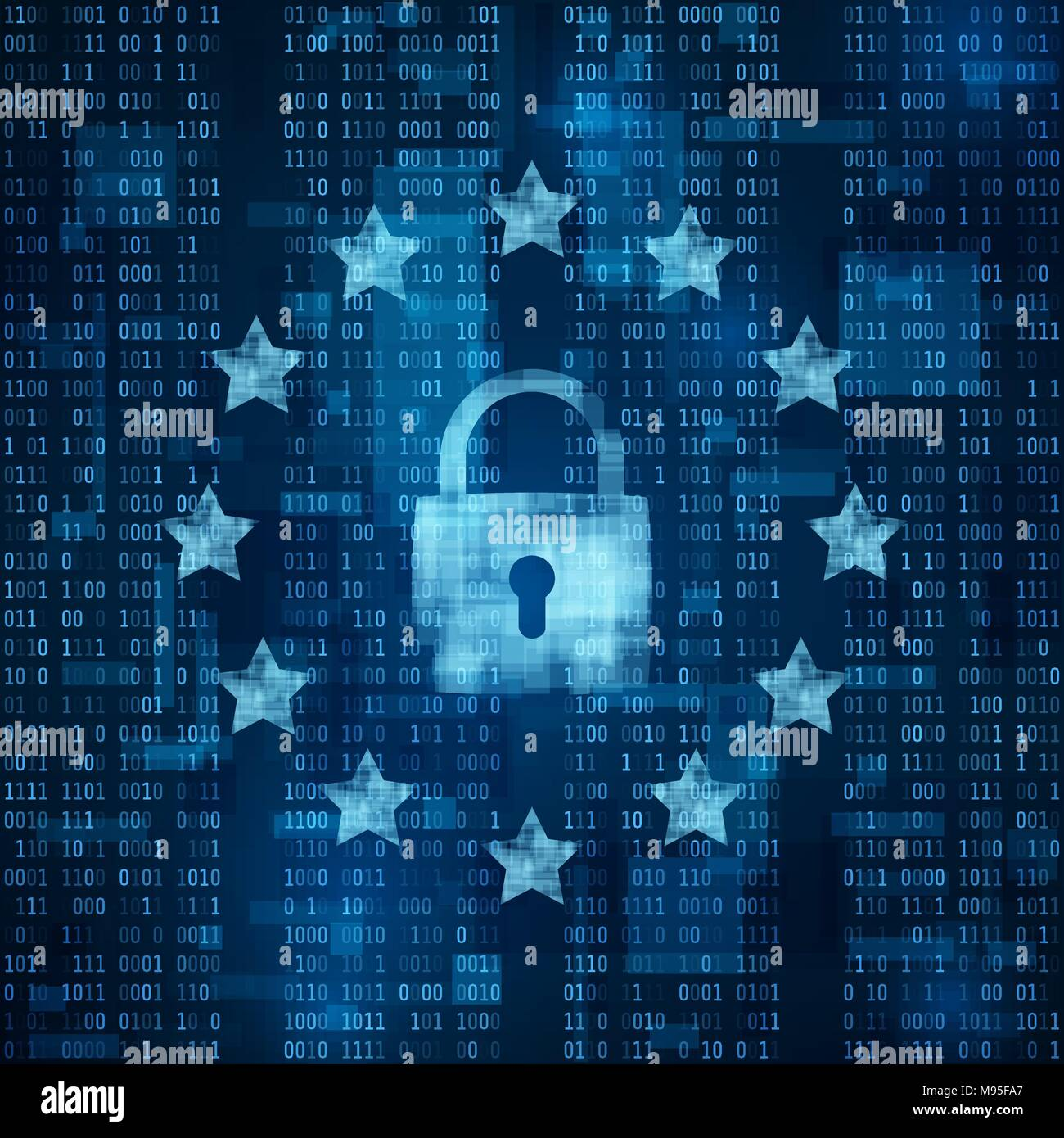General Data Protection Regulation - GDPR.  padlock symbol, data secure. Stars on blue matrix background. Vector illustration - Stock Image