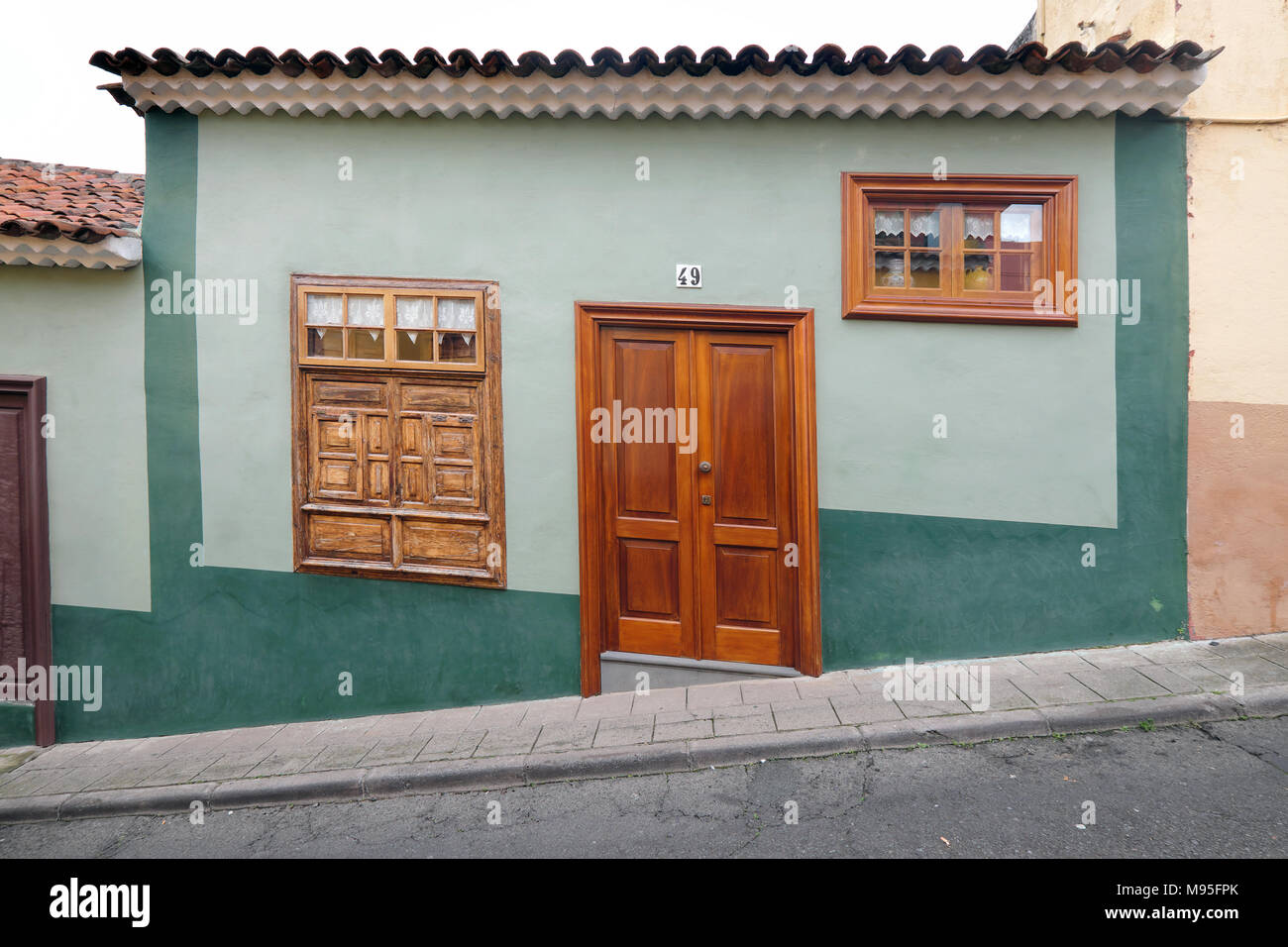 old buildings in the steeply hilly town of la orotava in tenerife canary islands spain - Stock Image